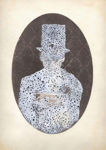 "Self-Portrait with Barnacles, 2010. Salt print with gouache and pencil. 14"" x 11"""