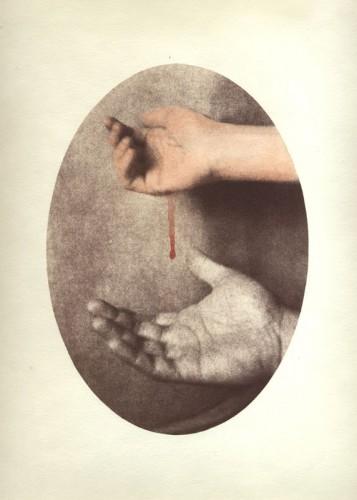 "Bleed, 2007. Salt print with watercolor. 14"" x 11"""