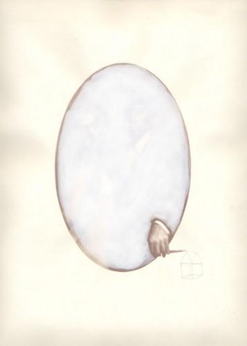 "Diagram, 2008. Salt print with gouache and pencil. 14"" x 11"""
