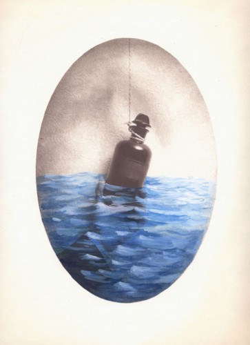"Message in a Bottle, 2006. Salt print with watercolor and gouache. 14"" x 11"""