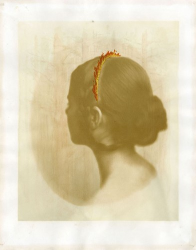 "Small Fires, 2012. Gum Bichromate with watercolor and gouache. 19"" x 15"""
