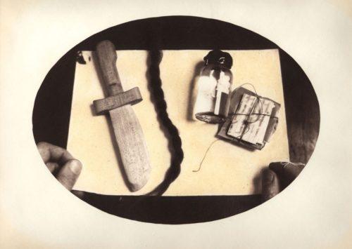 "Survival Kit, 2010. Salt print with watercolor. 14"" x 11"""