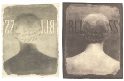 "Blindness, 2005. Waxed Calotype negative with bleach and pencil, and salt print. 10"" x 8"" each"