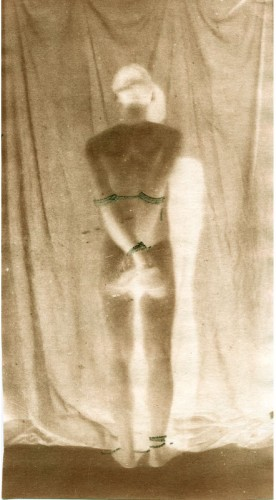 "Bound Man, 2002. Calotype negative with pencil. 7"" x 5"""