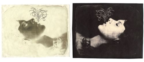 "Breath (Lying), 2004. Waxed Calotype negative with pencil, and salt print. 8"" x 10"" each"