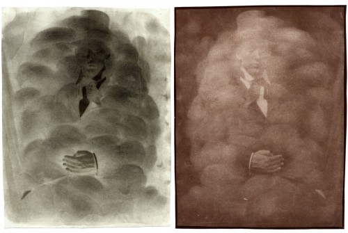 """Cloudy Self-Portrait, 2001. Waxed calotype negative with graphite, and salt print. 10"""" x 8"""" each"""