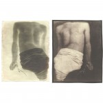 "Comfort, 2003. Waxed Calotype negative with pencil, and salt print. 10"" x 8"" each"