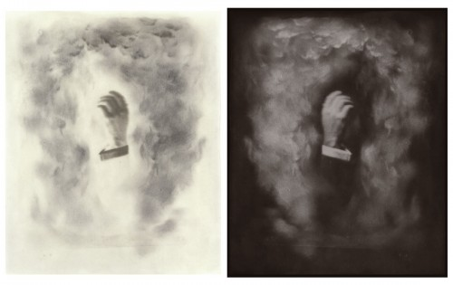 "Conjurer's Hand, 2002. Calotype negative with graphite, and salt print. 10"" x 8"" each"