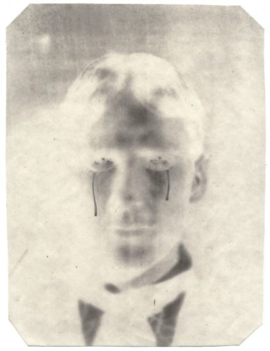 "Crying, 2002. Calotype negative with graphite. 10"" x 8"""