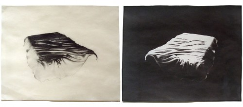 "Double Bed, 2004. Waxed pencil drawing, and salt print. 7"" x 9"" each"