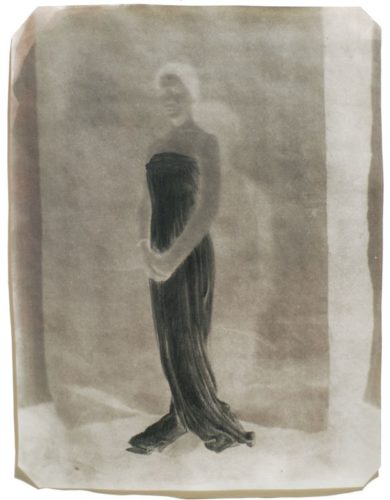 "Draped Figure, 2001. Calotype negative with graphite. 10"" x 8"""