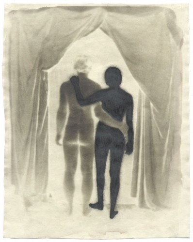 "Figure Study, 2004. Waxed Calotype negative with pencil. 10"" x 8"""