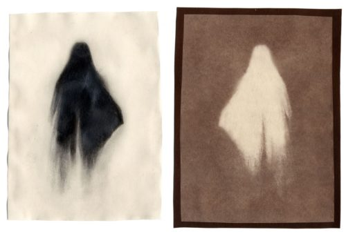 "Ghosts & Models (Ghost no. 2), 2002. Waxed pencil drawing, and salt print. 5 1/2"" x 4"" each"