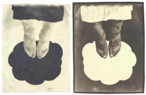"Heaven, 2003. Waxed Calotype negative with pencil, and salt print. 10"" x 8"" each"