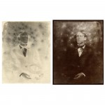 "Little Devils, no. 2, 2001. Waxed calotype negative with pencil, and salt print. 10"" x 8"" each"