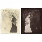 "Little Devils, no. 3, 2001. Waxed calotype negative with pencil, and salt print. 10"" x 8"" each"