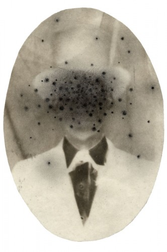 "Little Devils, no. 8, 2002. Calotype negative with pencil. 4"" x 3"""