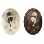 "Little Devils, no. 6, 2002. Calotype negative with pencil, and salt print. 4"" x 3"" each"