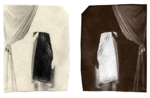 "Ghosts & Models (Model F.L.), 2002. Waxed calotype negative with pencil, and salt print. 4 1/2"" x 3 1/2"" each"