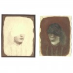 "Night & Day, no. 1, 2005. Salt print, and waxed Calotype negative with pencil. 5"" x 4"" each"