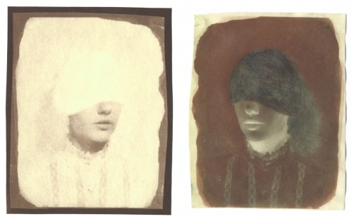 """Night & Day, no. 1, 2005. Salt print, and waxed Calotype negative with pencil. 5"""" x 4"""" each"""