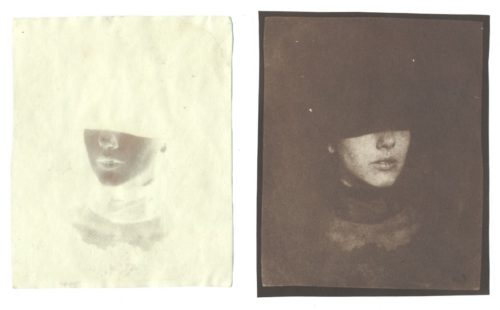 "Night & Day, no. 2, 2005. Waxed Calotype negative, and salt print. 5"" x 4"" each"