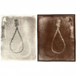 "Noose (Drawn), 2001. Waxed calotype negative with pencil, and salt print. 10"" x 8"" each"
