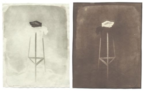 "One Hand, 2005. Waxed Calotype negative, and salt print. 10"" x 8"" each"