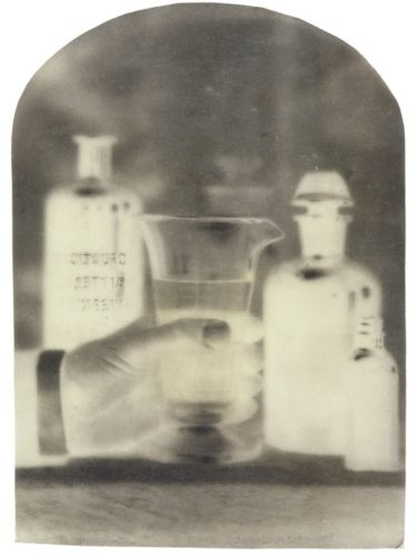 "Poisonous Liquids, no. 1, 2001. Calotype negative with pencil and watercolor. 7"" x 5"""