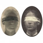 "Self-Portrait with Blindfold, 2004. Waxed Calotype negative with pencil, and salt print. 7"" x 5"" each"