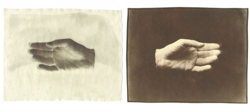 "Two Hands, 2005. Waxed Calotype negative with ink, and salt print. 8"" x 10"" each"