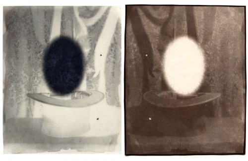 "Untitled, 2001. Waxed calotype negative with graphite, and salt print. 10"" x 8"" each"