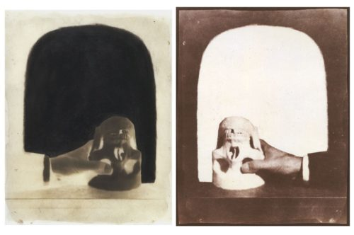 """Vanity, no.2, 2002. Waxed calotype negative with graphite, and salt print. 10"""" x 8"""" each"""