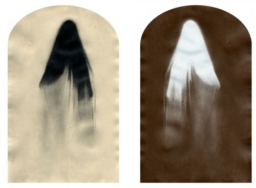 "Ghosts & Models (Ghost no. 5), 2002. Waxed pencil drawing, and salt print. 4 1/2"" x 3 1/2"" each"
