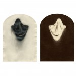 "Ghosts & Models (Ghost no. 1), 2002. Waxed pencil drawing, and salt print. 4 1/2"" x 3 1/2"" each"