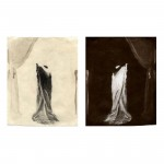 "Ghosts & Models (Model L.H.), 2002. Waxed calotype negative with pencil, and salt print. 5"" x 4"" each"