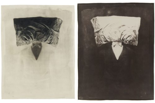 "Sleep (Pillow), 2004. Waxed Calotype negative with pencil, and salt print. 20"" x 16"" each"