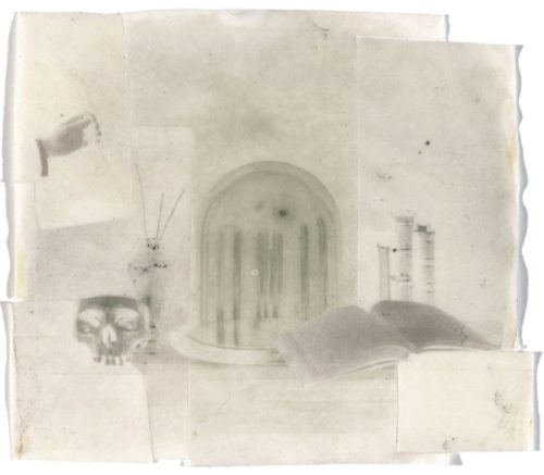 "Assembled Still Life, 2000. Waxed calotype negatives. 4"" x 4 1/2"""