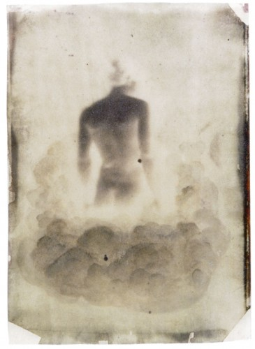 "Dissolution of the Muse, 1998. Calotype negative with watercolor. 7"" x 5"""