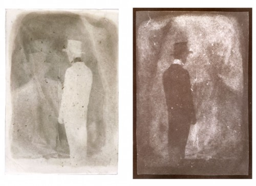 "Double Self-Portrait, 2000. Calotype negative with graphite, and salt print. 7"" x 5"" each"