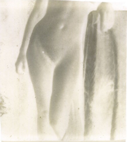 "Figure Study, Female, 2000. Calotype negative with graphite. 5"" x 4"""