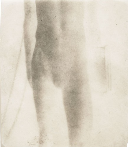 "Figure Study, Male, 2000. Calotype negative with graphite. 5"" x 4"""