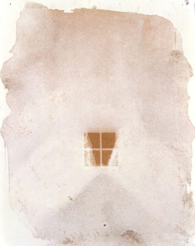 "Little Window, 1999. Calotype negative with graphite. 5"" x 4"""