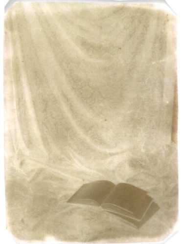"Open Book, 2000. Waxed calotype negative. 6"" x 5"""