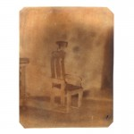 "Posing Chair, 1997. Waxed calotype negative with watercolor. 4"" x 3 1/2"""