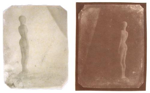 "Statuette, Second Version, 2000. Calotype negative and salt print. 5"" x 4"" each"