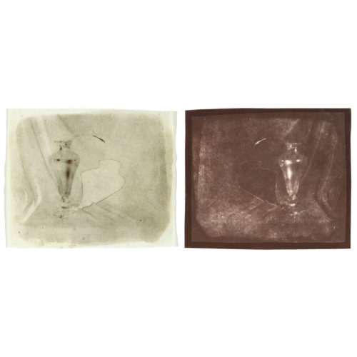 "Vase and Shadow, 2000. Waxed calotype negative, and salt print. 4"" x 4 1/4"" each"