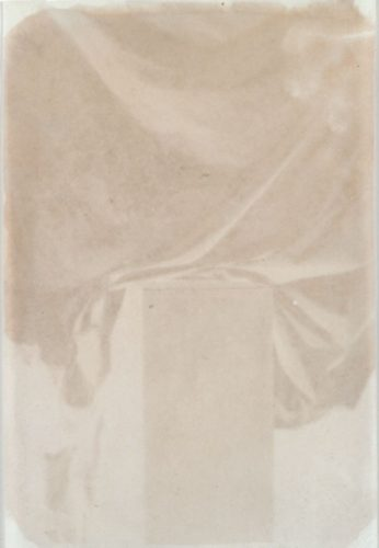 "Vertical Plinth, 1999. Waxed calotype negative. 7"" x 5"""