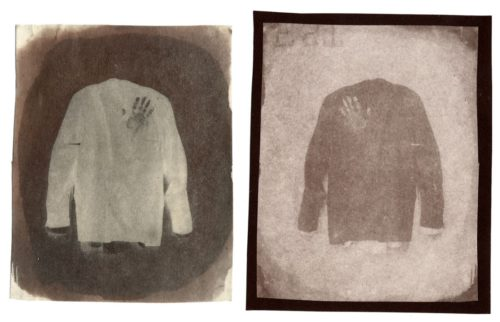 "Little Suit, 2001. Waxed Calotype negative, and salt print. 3 3/4"" x 2 3/4"" each"
